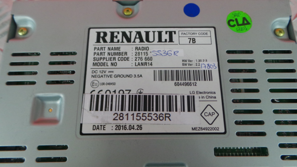 Auto-rádio (GPS) RENAULT MEGANE IV Sporter (K9A/M/N_)   16 -
