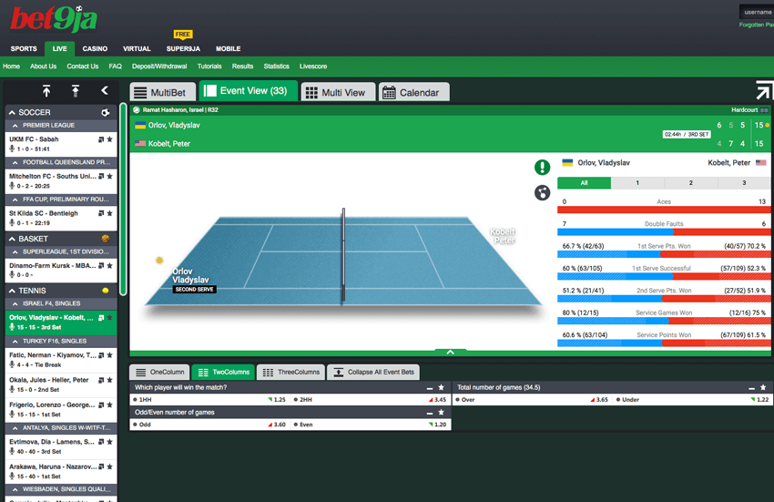 bet9ja in-play betting section