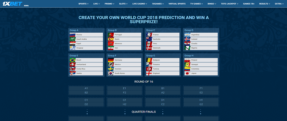 1XBET - World Cup 2018 Prediction