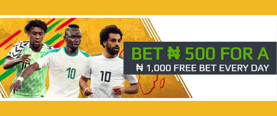 Place accumulator bet on AFCON and you could win NGN 1,000 free bet.