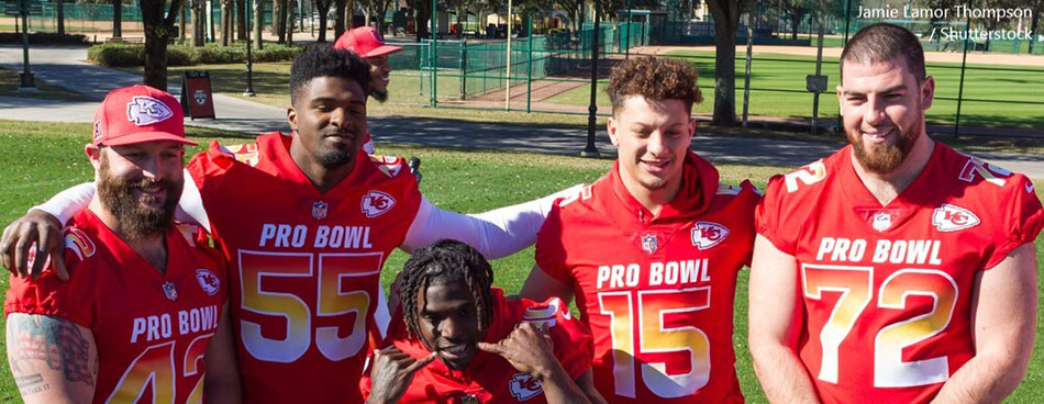 Kansas City Chiefs players NFL PRO BOWL Practice 2019 at the ESPN WILD WORLD OF SPORTS COMPLEX in Orlando Florida USA BANNER