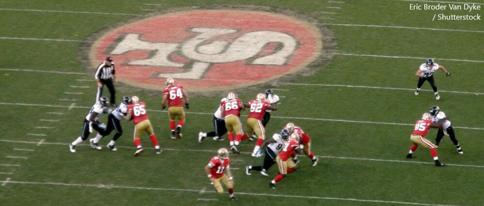 SAN FRANCISCO CA NOVEMBER 29 49ers in motion as during a play against the Jaguars. BANNER