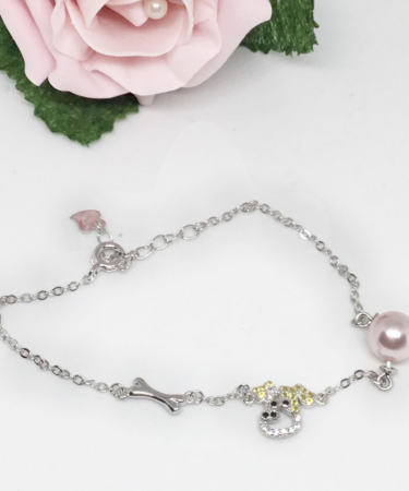 DOG CHARM BRACELET (with 2 pins) FOR ONE PEARL-0