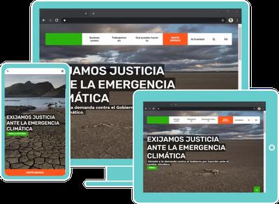 Imatge de diferents composicions de una mateixa web a diferents dispositius: a un monitor d'escriptori, a una tablet i a un smartphone.