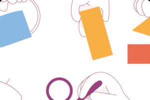 Imatge de l'Esguard, un dibuix de mans agafant diferents formes geomètriques de colors