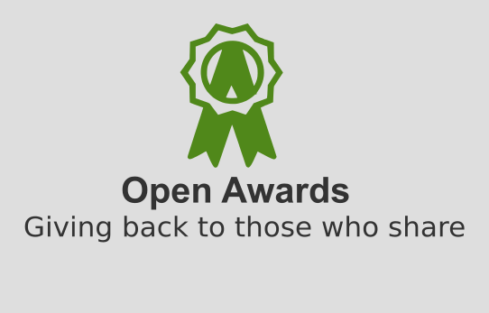 Logo del projecte Open Awards, Giving back to those who share
