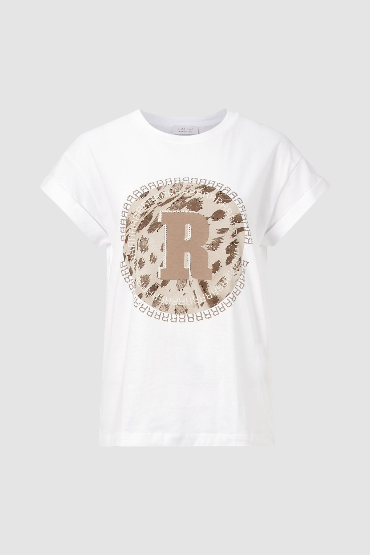 Print-Shirt mit Steinchen-Besatz