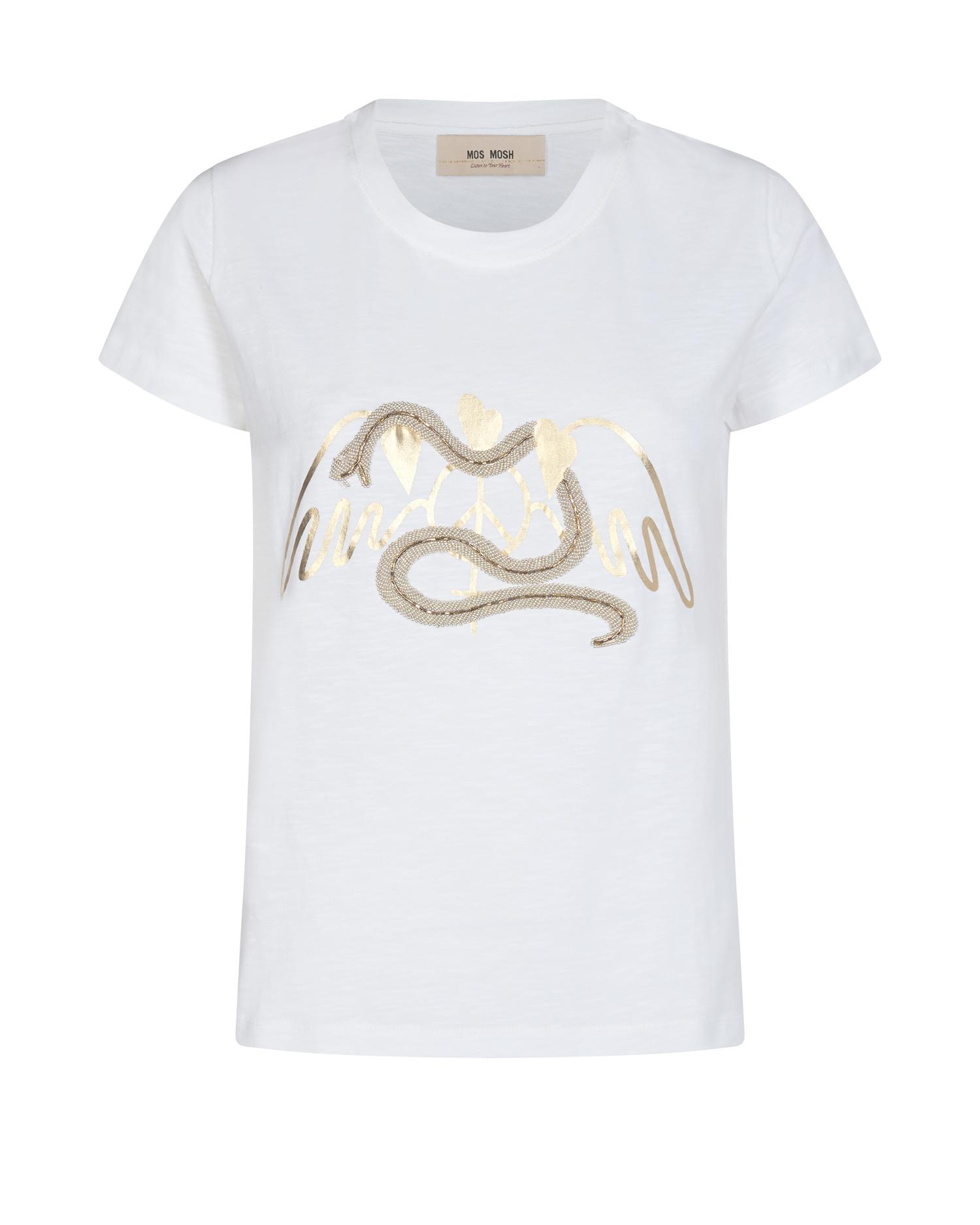 Rundhals T-Shirt mit Strass-Besatz