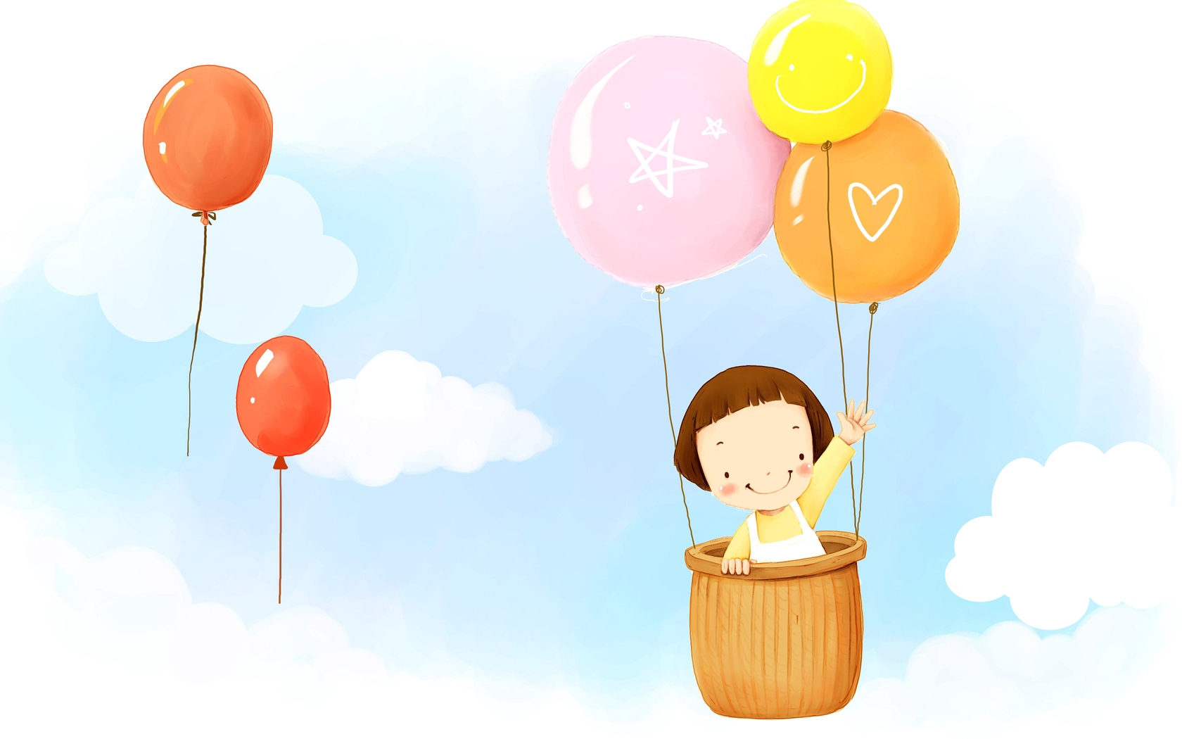 baby balloons flying sky clouds