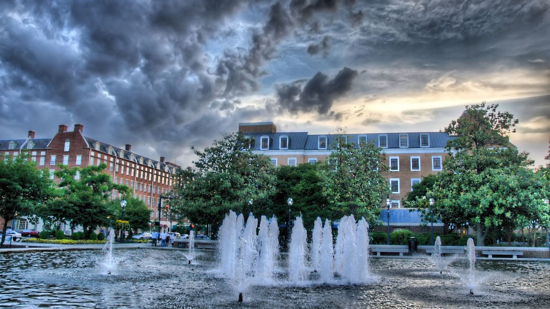fountain building trees water hdr x