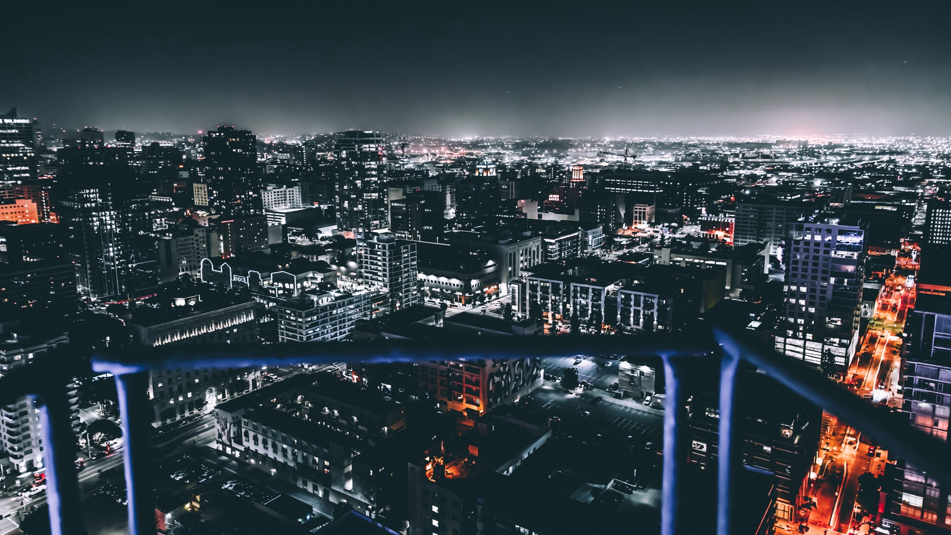 los angeles united states night city buildings x