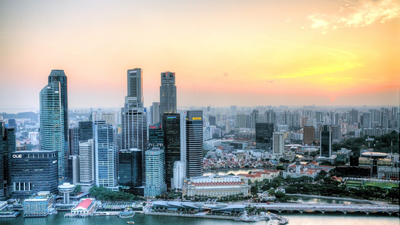 singapore sunset skyscrapers hdr x