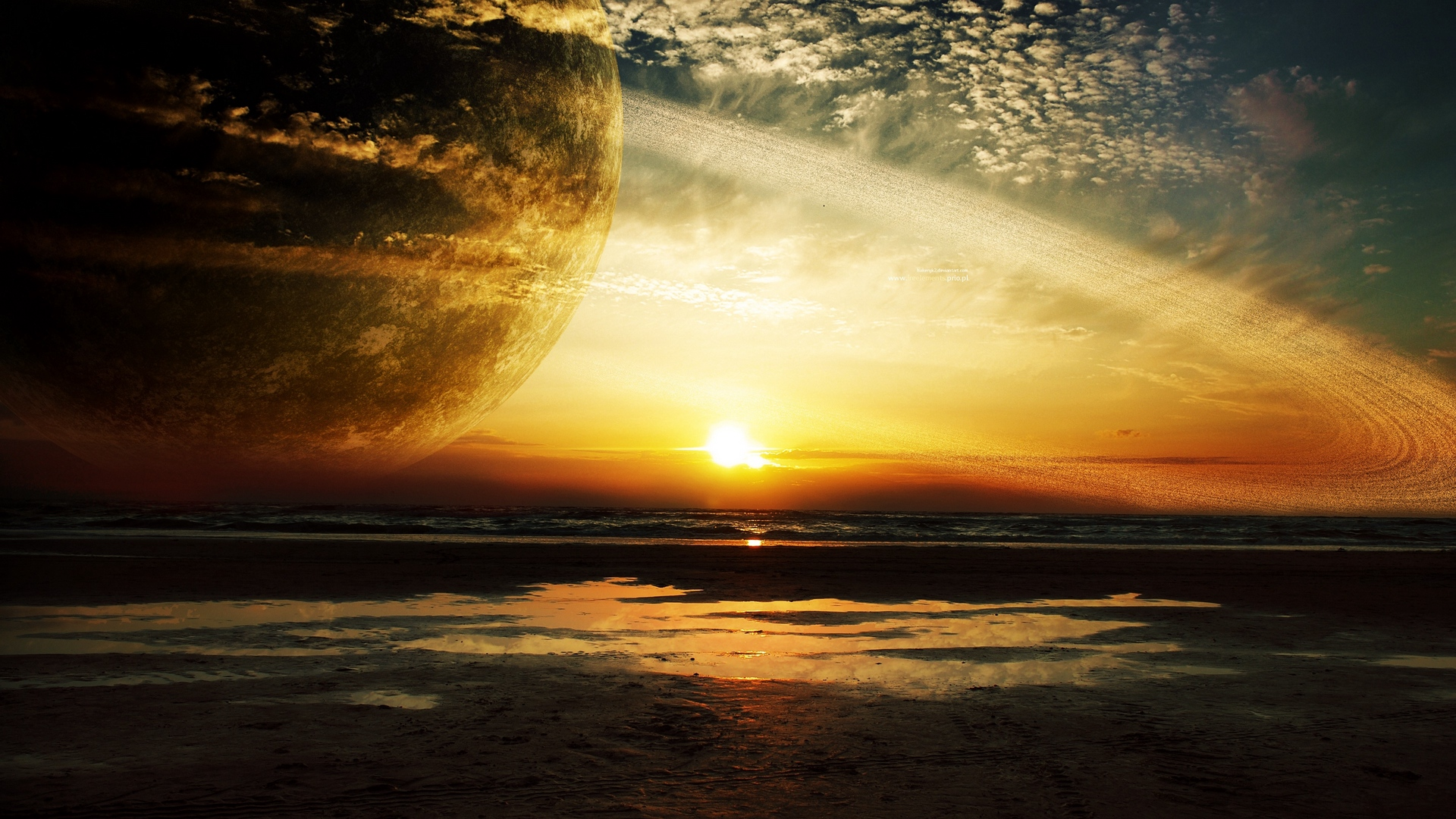 sunset sea rings planet x