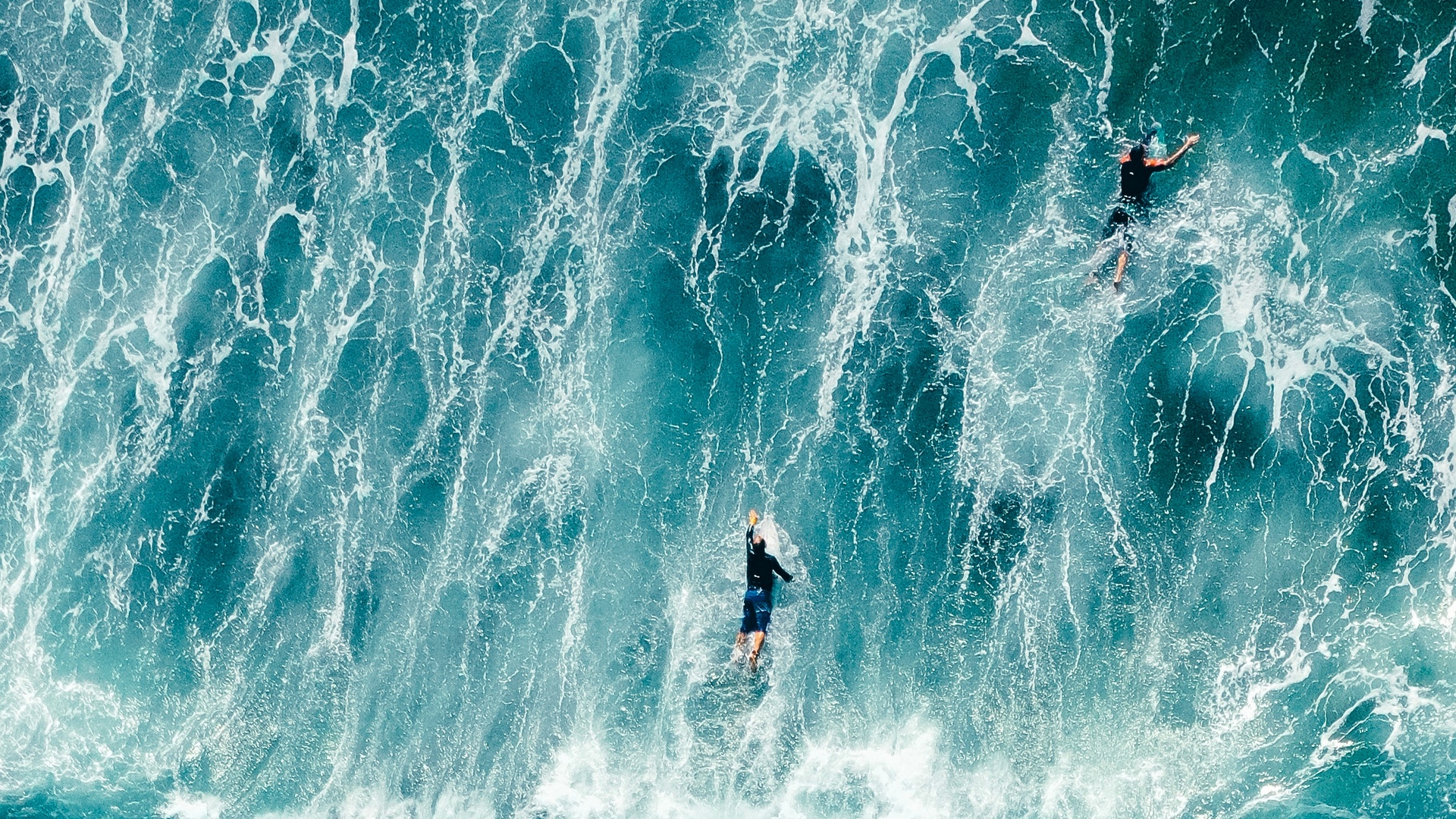 surfers waves aerial view x