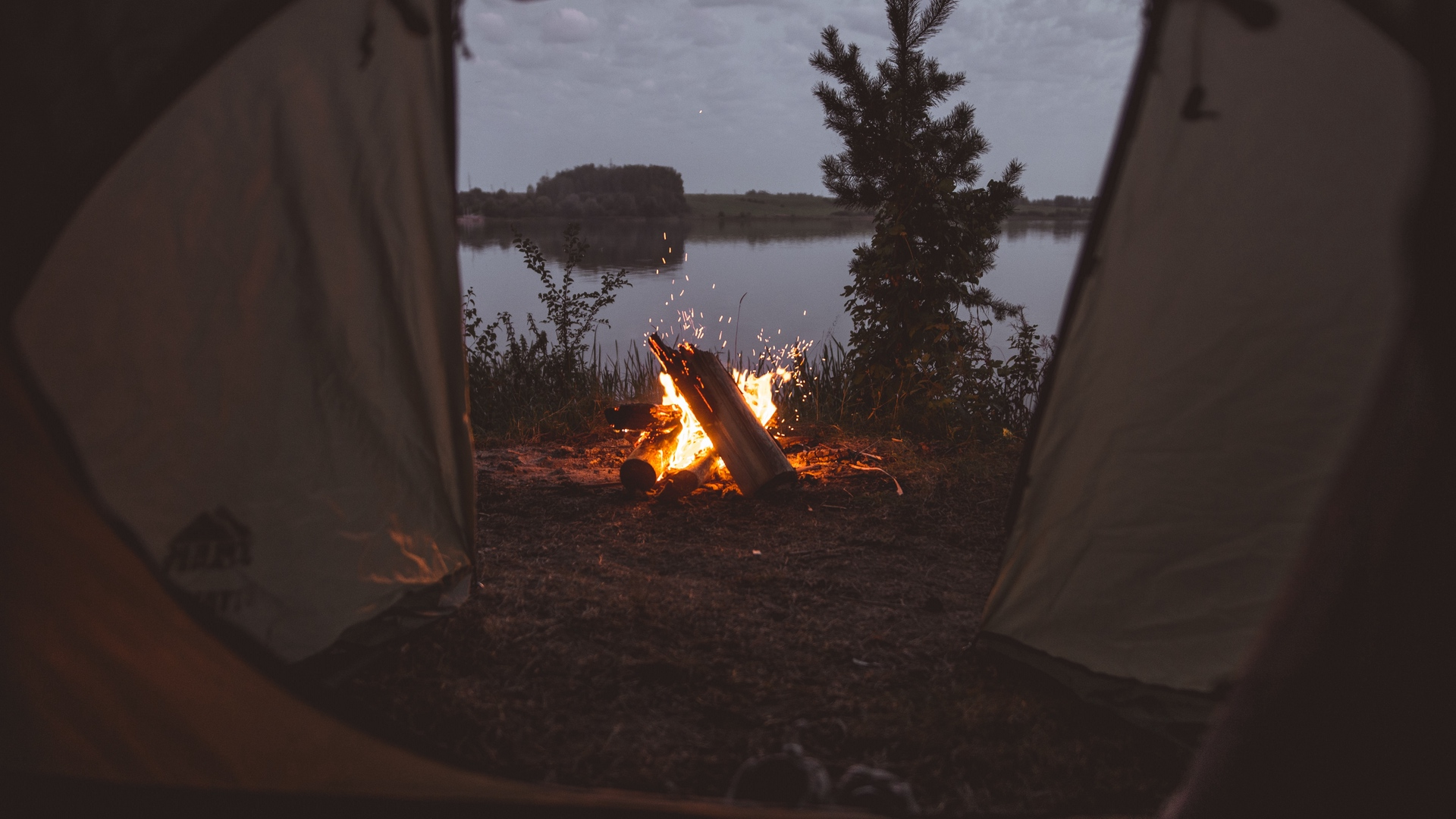 tent campfire camping x