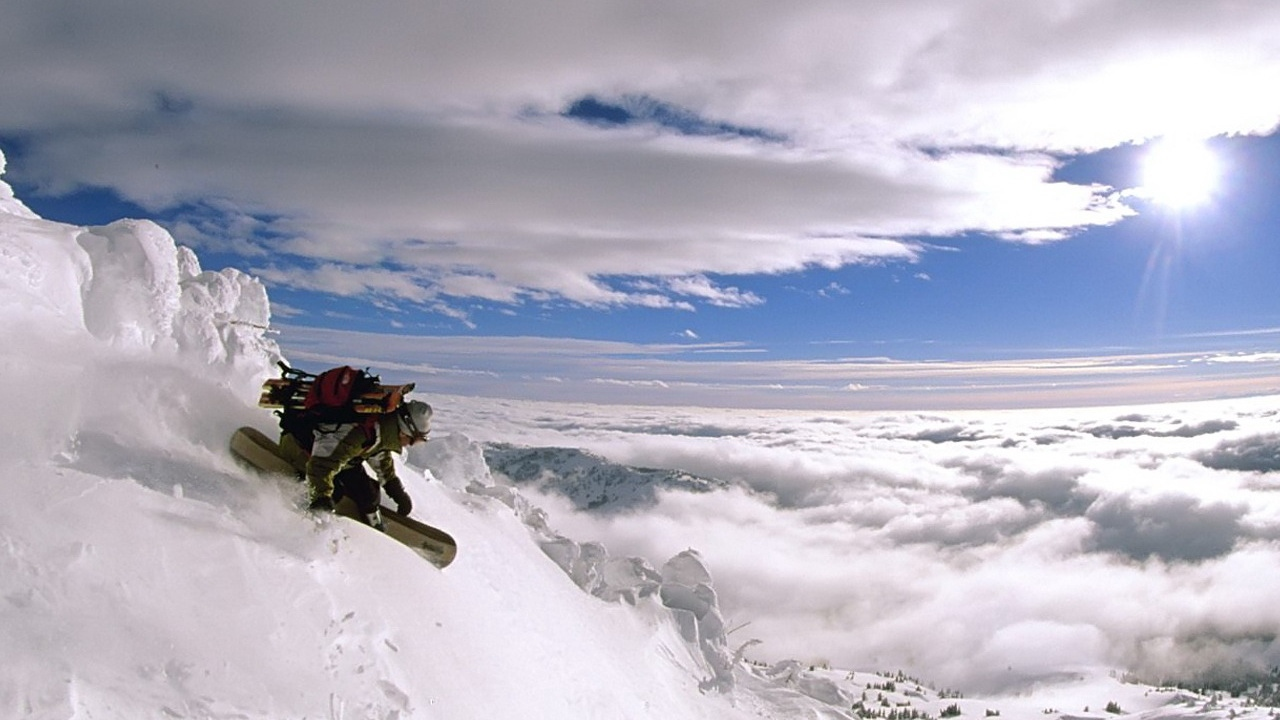 top snowboard descent sky extreme height clouds x