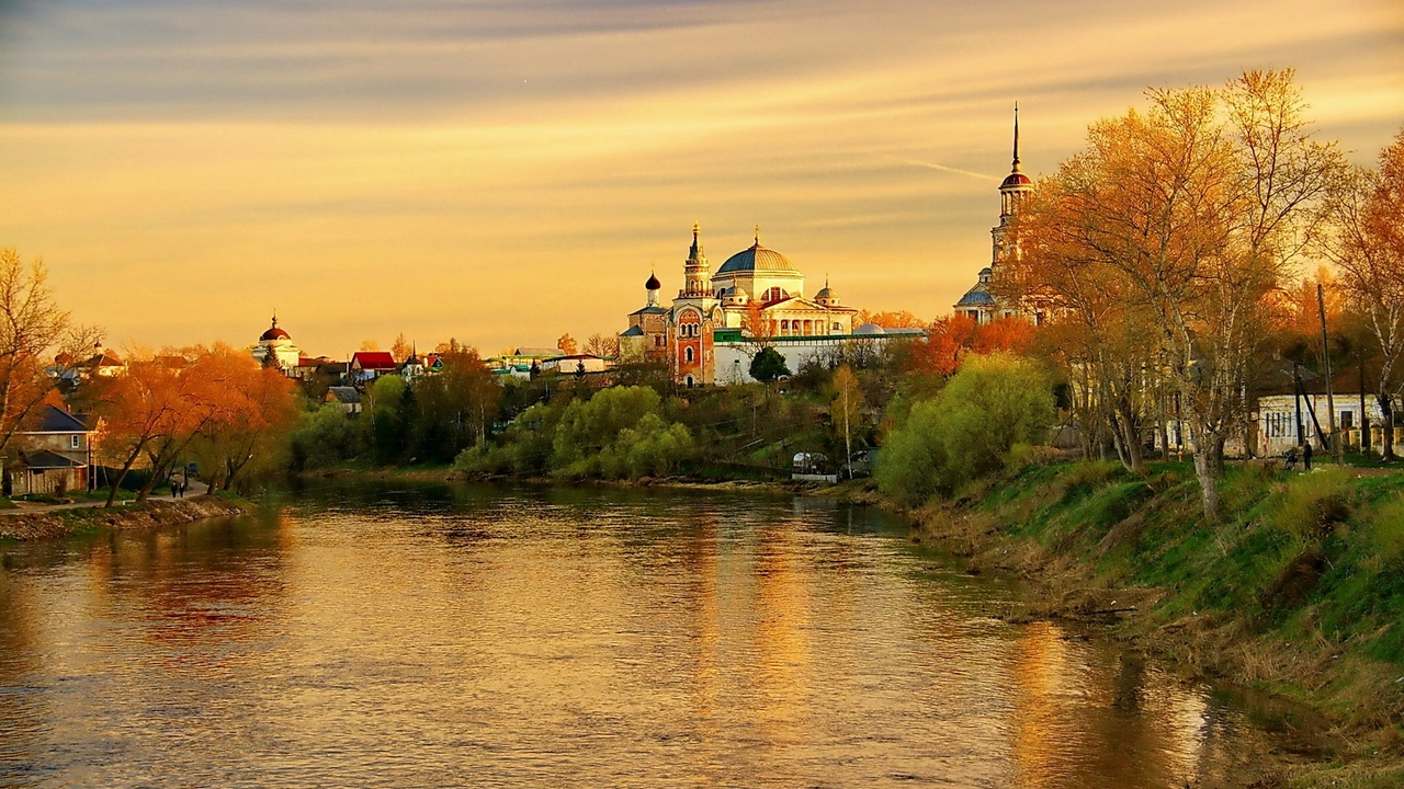 torzhok tver region evening sunset river reflection autumn russia x