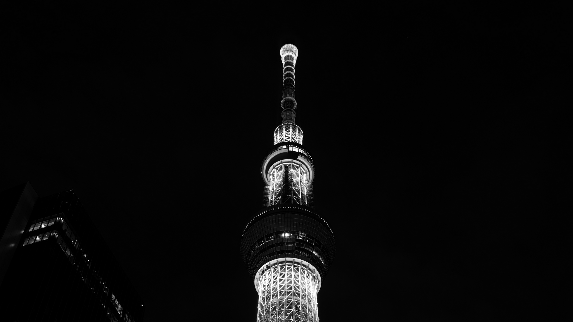 tower night city bw x
