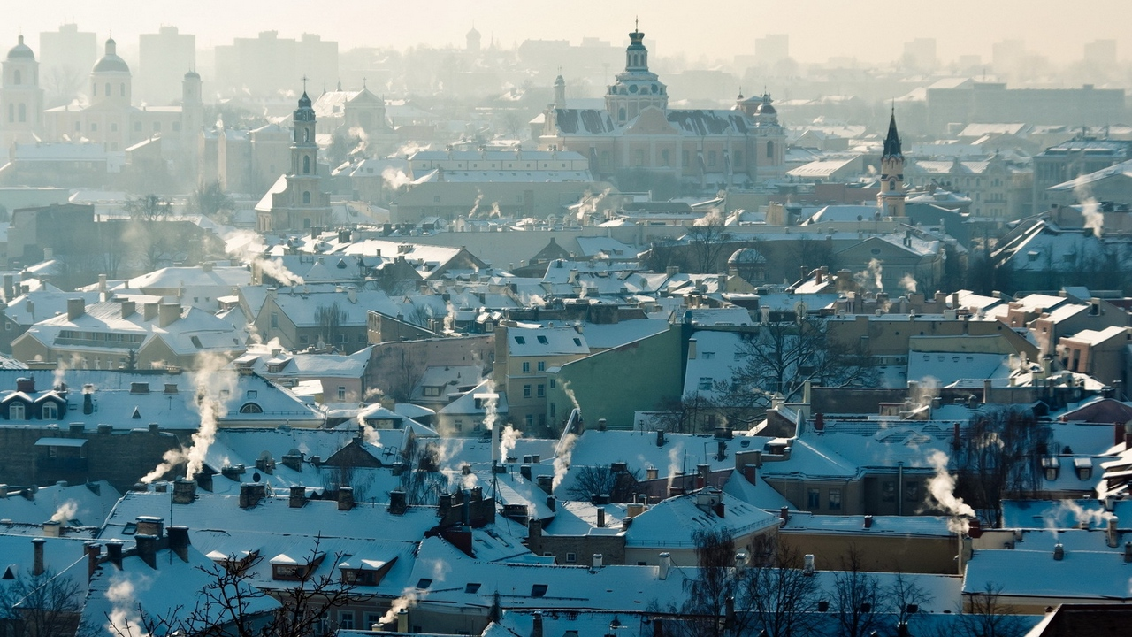 vilnius lithuania urban landscape roof smoke panorama x