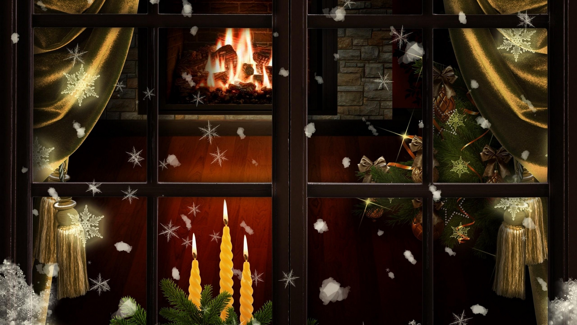 window fireplace candles christmas tree cozy christmas x