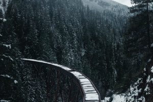 bridge railway snow Hd Wallpaper