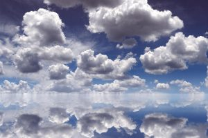 clouds reflection sky water white blue Hd Wallpaper