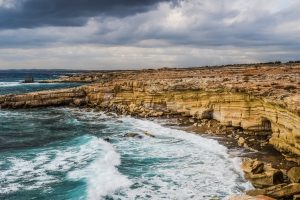 cyprus cliff coast waves Hd Wallpaper