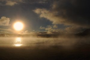 dawn sun disk fog evaporation Hd Wallpaper