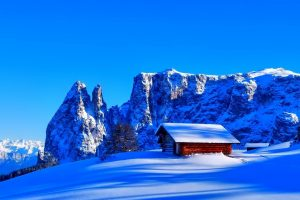 mountains snow hut top winter Hd Wallpaper