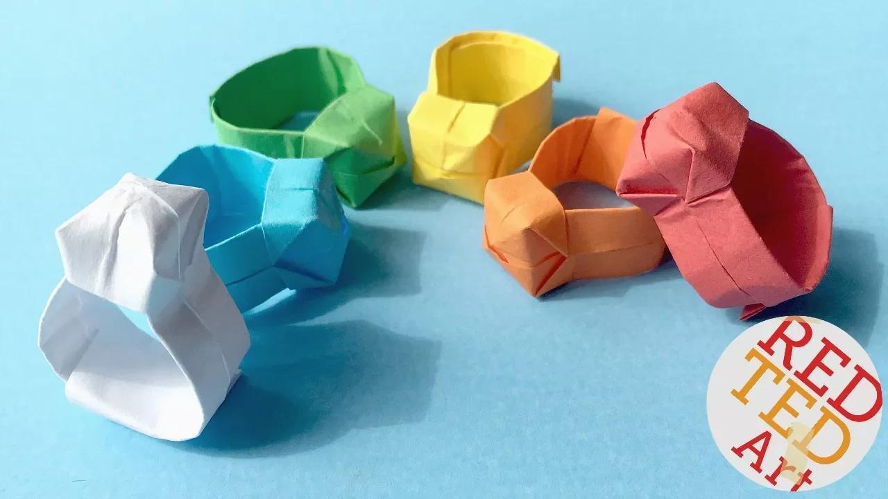 حلقة اوريغامي DIY سهلة ورقة الدائري بدون موسيقى | Origami Ring DIY   Easy Paper Ring No Music