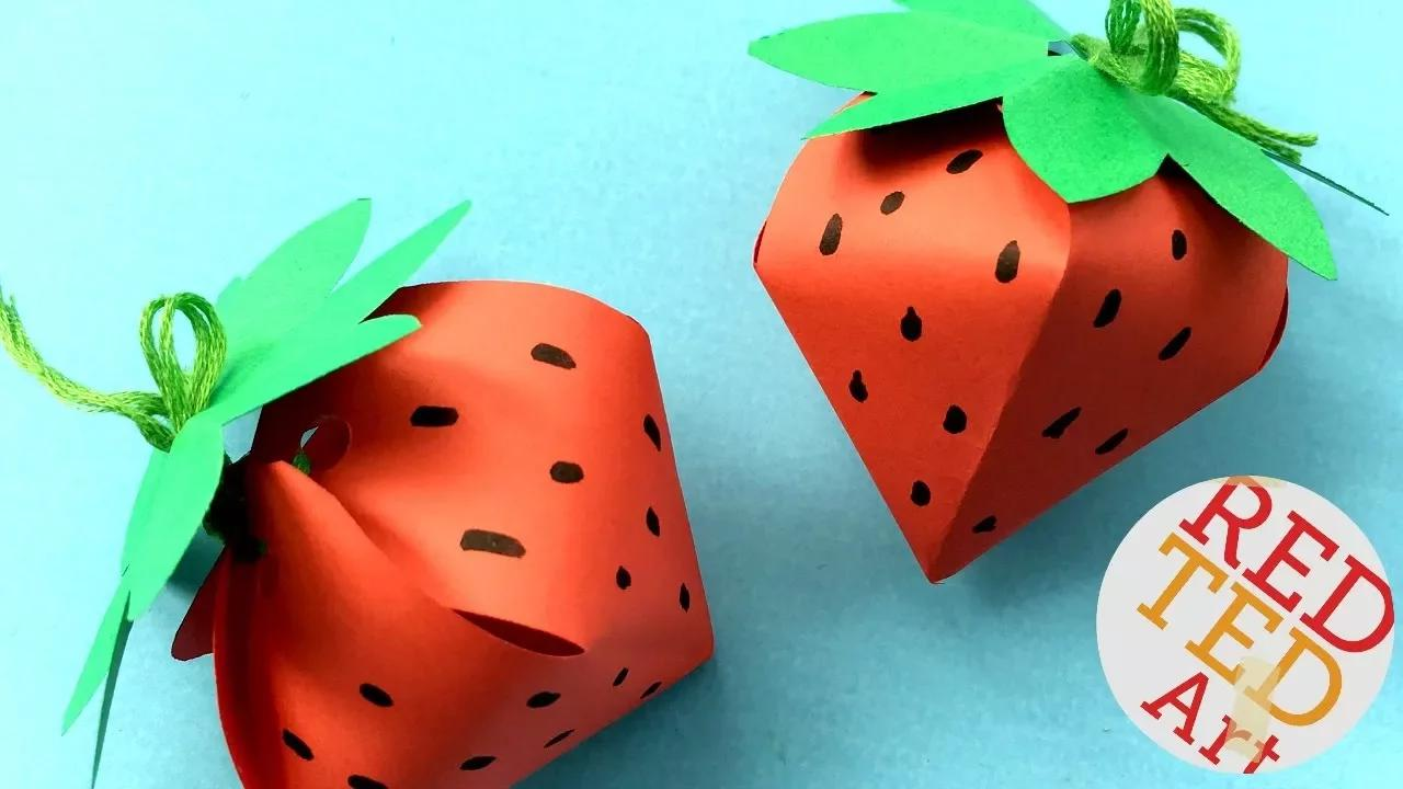 صندوق هدايا الفراولة DIY - صندوق هدايا بدون غراء - صندوق ورق على شكل فراولة بدون موسيقى | Strawberry Gift Box DIY - No Glue Paper Gift Box -  easy paper box shaped strawberries No Music
