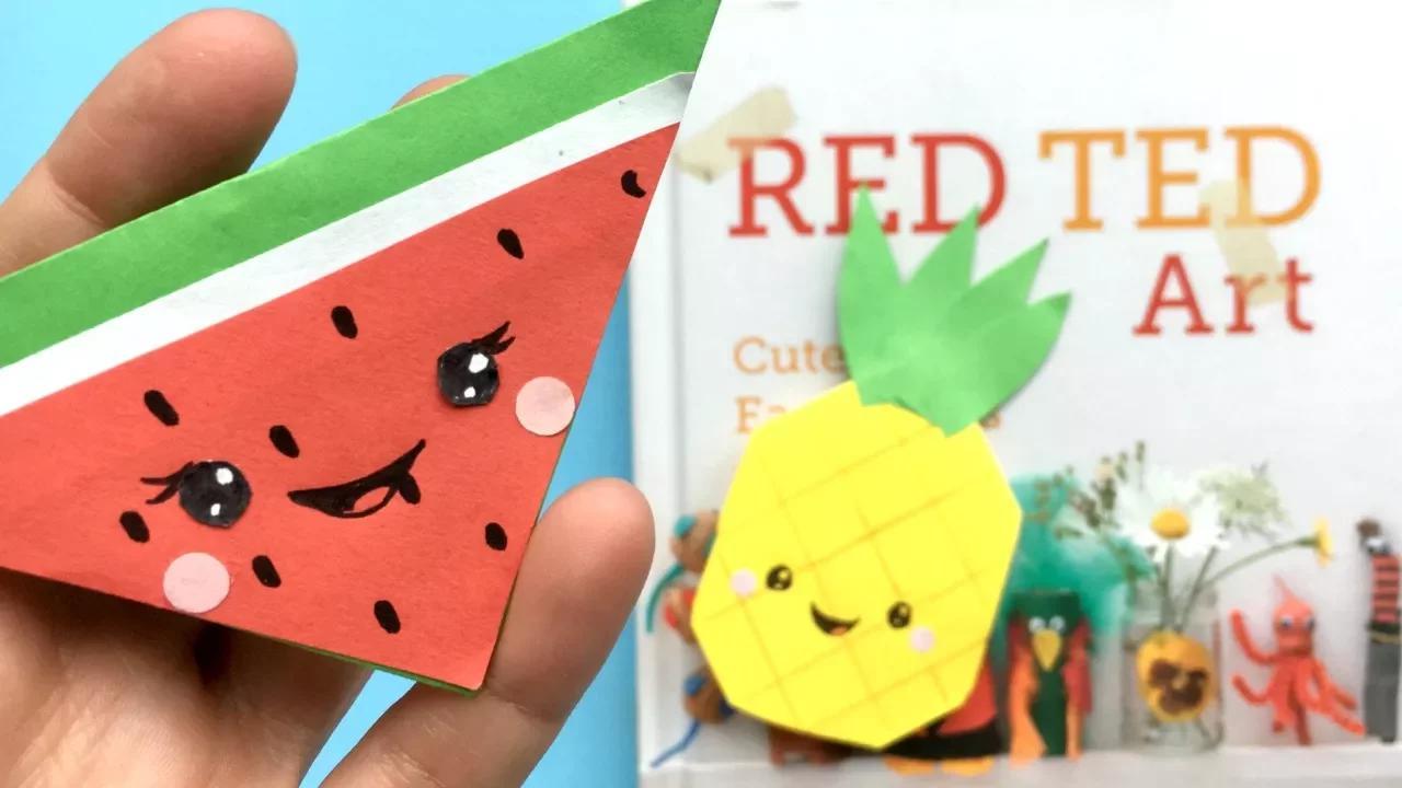 من السهل Kawaii Melon مرجعية ركن البطيخ والأناناس ورقة DIY بدون موسيقى | Easy Kawaii Melon Bookmark Corner   Melon & Pineapple Paper DIYs No Music