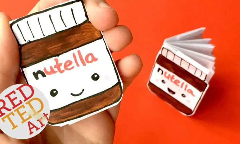 DIY Kawaii دفتر من 1 ورقة - NO GLUE - Nutella Notebook DIY - أفكار للمدرسة بدون موسيقى | DIY Kawaii notebook of 1 sheet of paper - NO GLUE - Nutella Notebook DIY - Ideas for School No Music