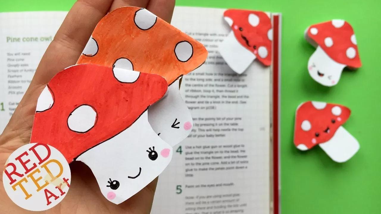 Kawaii Bookmark Corner - من السهل MUSHROOM المرجعية DIY - أفكار مرجعية لطيفة الخريف بدون موسيقى | Kawaii Bookmark Corner - Easy MUSHROOM Bookmark DIY - Cute Fall Bookmark Ideas No Music