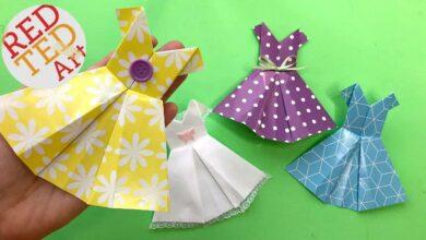 كيفية جعل اللباس اوريغامي للمبتدئين - من السهل اللباس الورق DIY بدون موسيقى | How to Make Origami Dress for Beginners - Easy Paper Dress DIY No Music