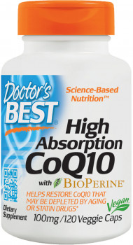 Doctor's Best High Absorption CoQ10 with BioPerine 100 mg, 120 Vegetarian Capsules