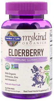 Garden of Life MyKind Organics Elderberry Immune Gummy, 120 Vegan Gummy Drops