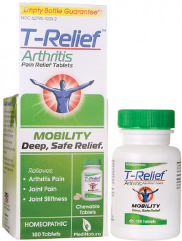 MediNatura T-Relief Arthritis Pain Relief Tablets, 100 Tablets