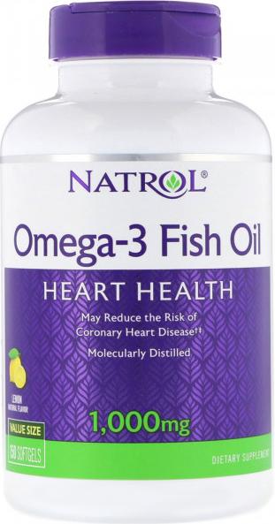 Natrol Omega-3 Fish Oil, Natural Lemon Flavour, 1000mg, 150 Softgels