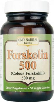 Only Natural Forskolin 500, Coleus Forskohlii, 500 mg, 50 Vegetarian Capsules