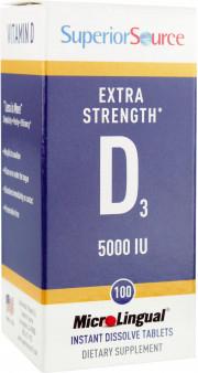 Superior Source Extra Strength Vitamin D3, 5,000 IU, 100 MicroLingual Instant Dissolve Tablets
