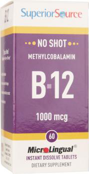 Superior Source No Shot Methylcobalamin B-12 1000mcg 60 MicroLingual Instant Dissolve Tablets