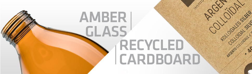 Amber glass and recycled cardboard packaging