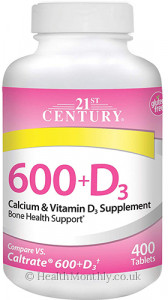 21st Century 600+D3 Calcium Supplement