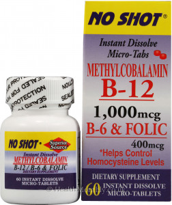 Superior Source No Shot Methylcobalamin B12, B6, Folic Acid