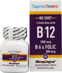 Superior Source No Shot Cyanocobalamin B12, B6 & Folic Acid
