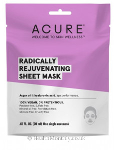 Acure® Radically Rejuv Sheet Mask, Argan Oil & Hyaluronic Acid, Age Performance