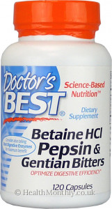Doctor's Best Betaine HCI with Pepsin & Gentian Bitters