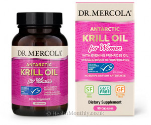 Dr. Mercola Antarctic Krill Oil for Women, with Organic Evening Primrose Oil, Omega-3, Phospholipids & Astaxanthin