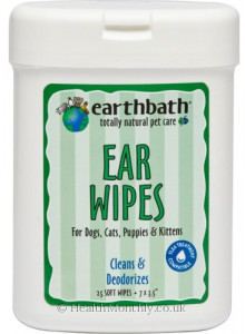 Earthbath Totally Natural Pet Care Ear Wipes, Cleans & Deodorizes